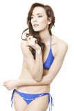 Mulher no biquini azul Fotografia de Stock