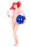Mulher no biquini com esfera Imagem de Stock Royalty Free