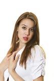 Mulher no branco Imagem de Stock Royalty Free