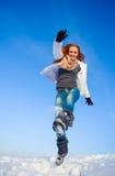 Mulher no campo de neve Imagem de Stock
