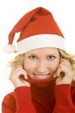 Mulher no chapéu de Santa Foto de Stock