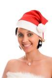 Mulher no chapéu do Natal. Foto de Stock Royalty Free