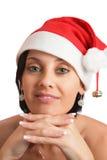 Mulher no chapéu do Natal. imagem de stock royalty free