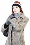 Mulher no chapéu e no revestimento do knit Fotografia de Stock