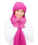 Mulher no chapéu, no silencioso e nos mitenes Fotografia de Stock Royalty Free