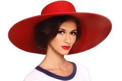 Mulher no chapéu vermelho imagens de stock
