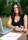 Mulher no computador Fotos de Stock Royalty Free