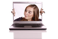 Mulher no computador Imagem de Stock Royalty Free