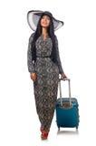 A mulher no conceito de viagem no branco Fotografia de Stock