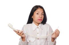 Mulher no conceito do negócio engraçado no branco Foto de Stock