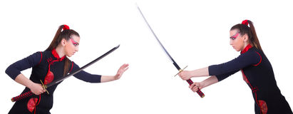 A mulher no conceito japonês da arte marcial Fotos de Stock Royalty Free