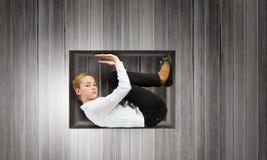 Mulher no cubo Imagens de Stock