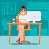 Mulher no escritório na tabela Ilustração lisa do vetor Fotografia de Stock