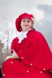 Mulher no hábito de equitação vermelho imagem de stock royalty free