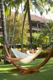 Mulher no hammock Imagens de Stock