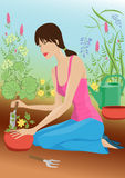 Mulher no jardim Foto de Stock Royalty Free