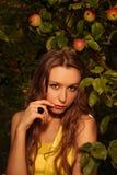 Mulher no jardim da maçã foto de stock