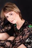 Mulher no laço preto Imagens de Stock