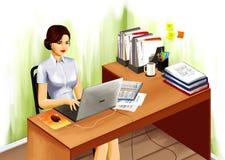 Mulher no lugar de trabalho com caderno ilustração stock
