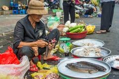 A mulher no mercado de Vietnam imagem de stock