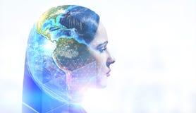 Mulher no mundo global ilustração royalty free