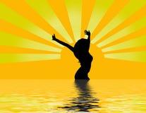 Mulher no nascer do sol ilustração royalty free