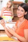 Mulher no pequeno almoço Imagens de Stock