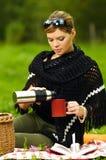 Mulher no piquenique Fotografia de Stock
