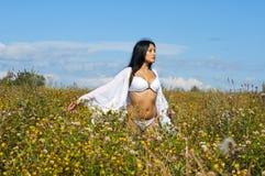 Mulher no prado Foto de Stock Royalty Free