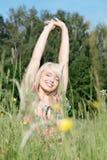 Mulher no prado Imagens de Stock