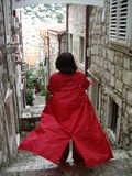 Mulher no revestimento vermelho Fotos de Stock Royalty Free