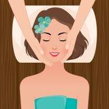 Mulher no salão de beleza dos termas da massagem ilustração royalty free