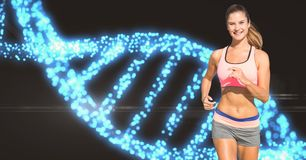 Mulher no sportswear que movimenta-se contra a estrutura do ADN ilustração do vetor