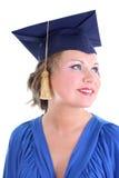 Mulher no tampão da graduação imagens de stock