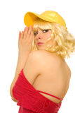 Mulher no tampão amarelo Imagem de Stock Royalty Free