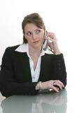 Mulher no telefone de pilha fotografia de stock royalty free