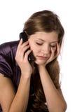 Mulher no telefone preocupado Fotos de Stock