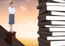 Mulher no telhado que olha os livros 3D Imagens de Stock