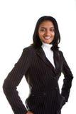 Mulher no terno cinzento e no Turtleneck branco fotografia de stock