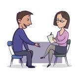 A mulher no terno e nos vidros do escritório escuta um homem e faz anotações O homem fala a uma mulher que senta-se oposto a ele  ilustração stock
