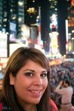 Mulher no Times Square NYC imagens de stock