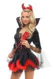 Mulher no traje do carnaval. Forma do diabo fotos de stock