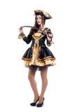 Mulher no traje do carnaval Forma do pirata Isolado Fotografia de Stock Royalty Free