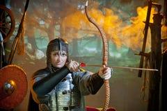 Mulher no traje do guerreiro Fotos de Stock Royalty Free