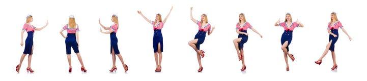 A mulher no traje que empurra o obstáculo virtual imagens de stock royalty free