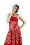 Mulher no vermelho Fotografia de Stock