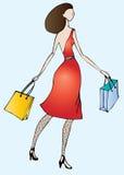 Mulher no vermelho Ilustração Stock