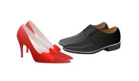 Mulher no vermelho e homem no preto Fotografia de Stock