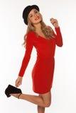 Mulher no vermelho isolado no branco Foto de Stock Royalty Free