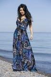 Mulher no vestido azul Foto de Stock Royalty Free